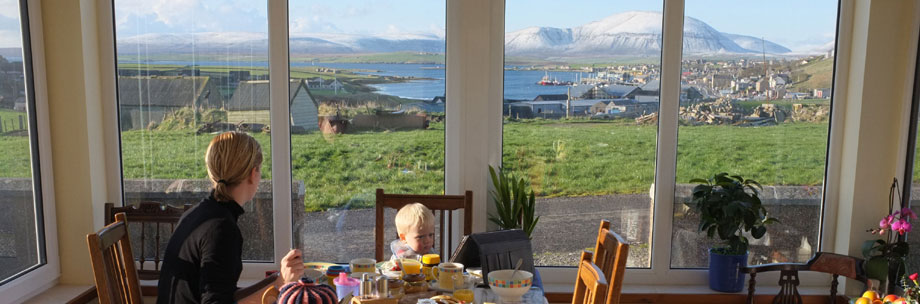 breakfast is our speciality, with home made bannocks and an amazing view